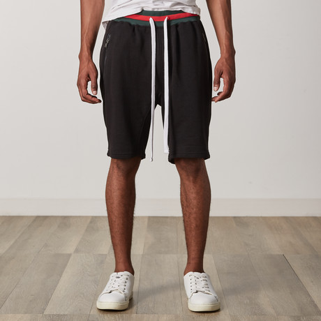 French Terry Shorts // Black + Green + Red (S)