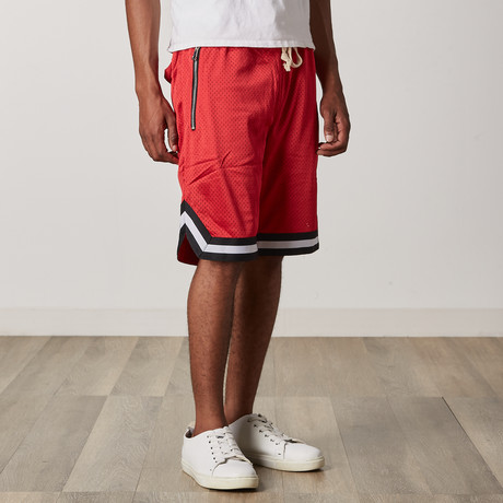Mesh Basketball Shorts // Red + Black + White (S)
