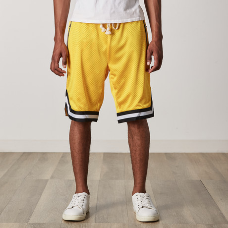 Mesh Basketball Shorts // Yellow + Black + White (S)