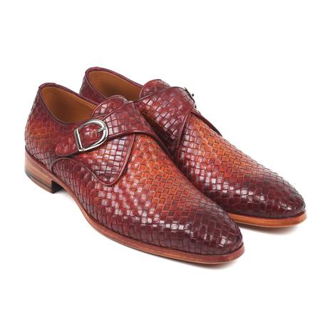 Woven Leather Single Monkstraps// Reddish Brown (Euro: 38)