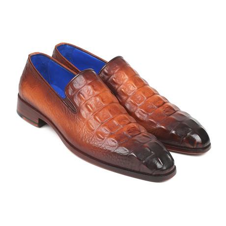 Crocodile Embossed Calfskin Loafers // Brown (Euro: 38)