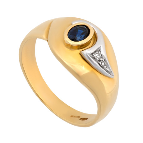 Estate 18k Two-Tone Gold Diamond + Sapphire Ring // Ring Size: 7
