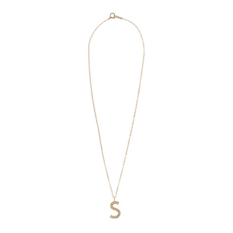 Estate 18k Yellow Gold Diamond S Letter Necklace