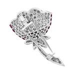 Estate 18k White Gold Diamond + Sapphire Lily Brooch