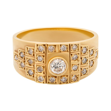Estate 18k Yellow Gold Vintage Diamond Ring // Ring Size: 6.75