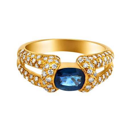 Estate 18k Yellow Gold Sapphire + Pave Diamond Ring // Ring Size: 6.75