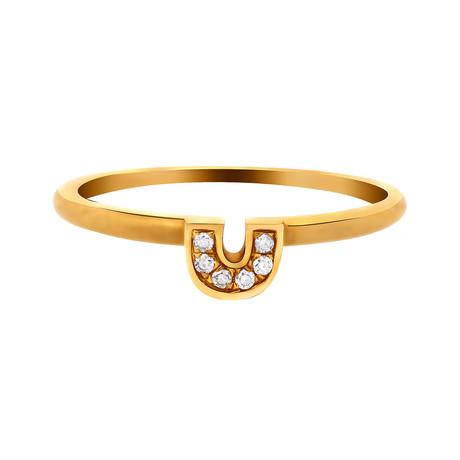 """Estate 14k Yellow Gold Diamond """"U"""" Ring // Ring Size: 7"""
