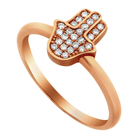 Estate 14k Rose Gold Hand of Fatima Diamond Ring // Ring Size: 7