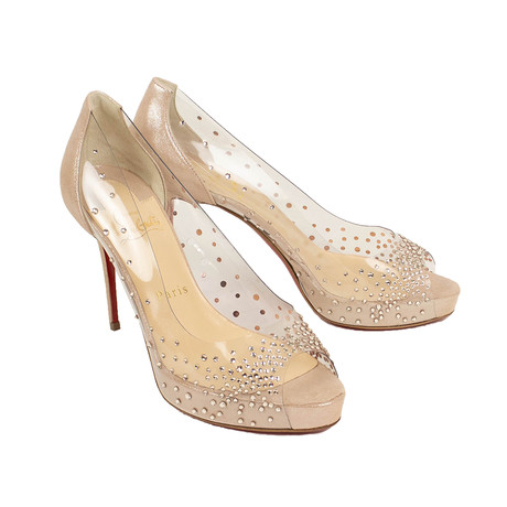 Women's Very Strass PVC + Suede 100mm Heels // Beige (Euro: 35)
