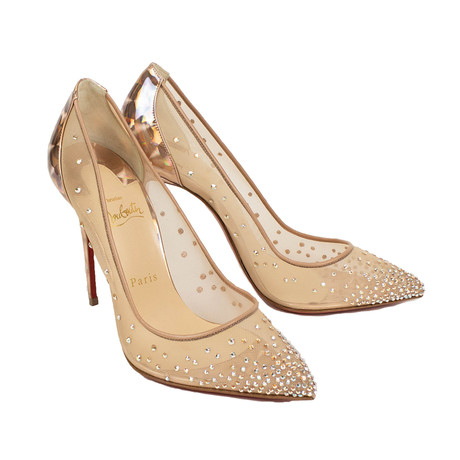Women's Follies Strass Mesh 100mm Pumps Heels // Beige (Euro: 36)