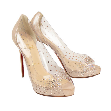 Women's Very Strass PVC + Suede 120mm Heels // Beige (Euro: 36)