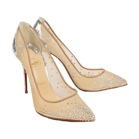 Women's Follies Strass Mesh 100mm Pumps Heels // Silver (Euro: 34)