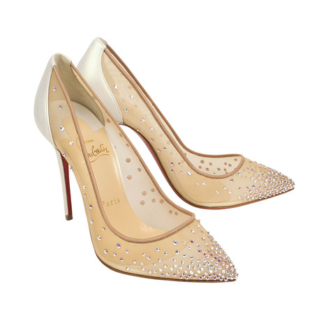 Women's Follies Strass Mesh 100mm Pump Heels // Beige (Euro: 34)