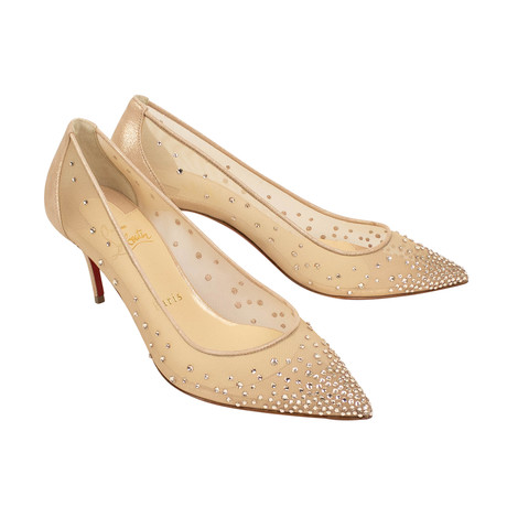 Women's Follies Strass Mesh 70mm Pumps Heels // Beige (Euro: 35)
