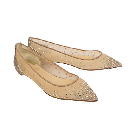 Women's Follies Strass Flats // Beige + Dark Silver Heel (Euro: 36)