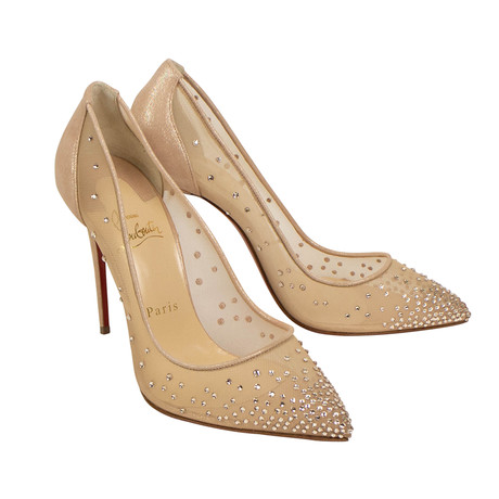 Women's Follies Strass Mesh 100mm Pump Heels // Dark Beige (Euro: 35)