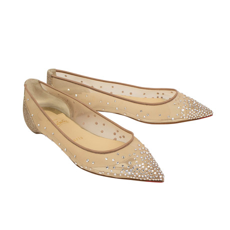 Women's Glitter Follies Strass Flats // Beige (Euro: 36)