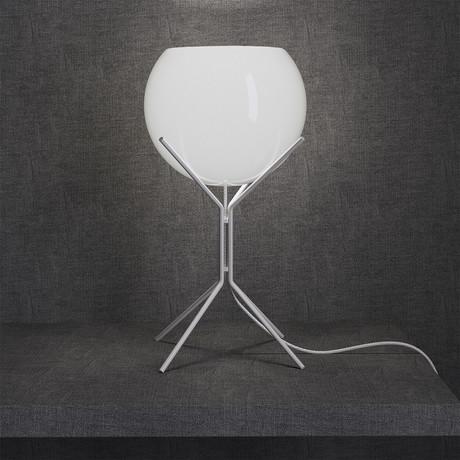Cambridge Table Lamp // White Glass + White Steel