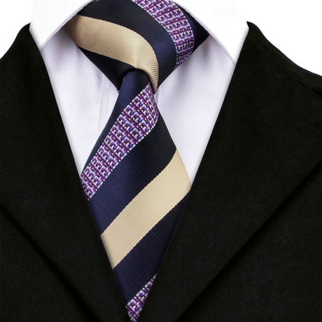 Maxime Handmade Tie // Navy + Tan Stripe