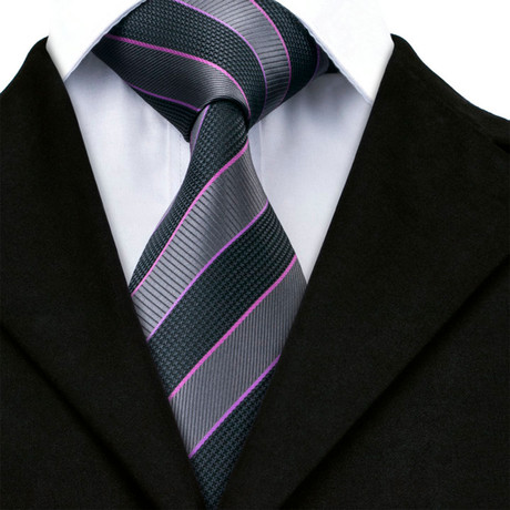 Augustin Handmade Tie // Black + Charcoal Stripe