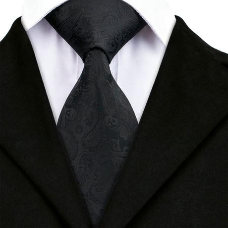 Hugo Handmade Tie // Black Paisley