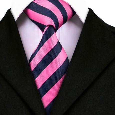 Enzo Handmade Tie // Navy + Pink Stripe
