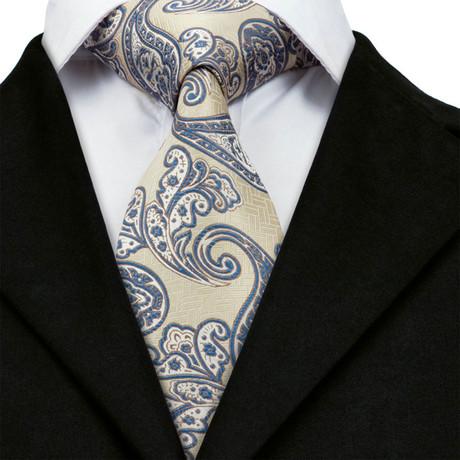 Marius Handmade Tie // Tan + Blue