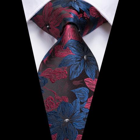 Blyn Handmade Silk Tie // Deep Red + Navy