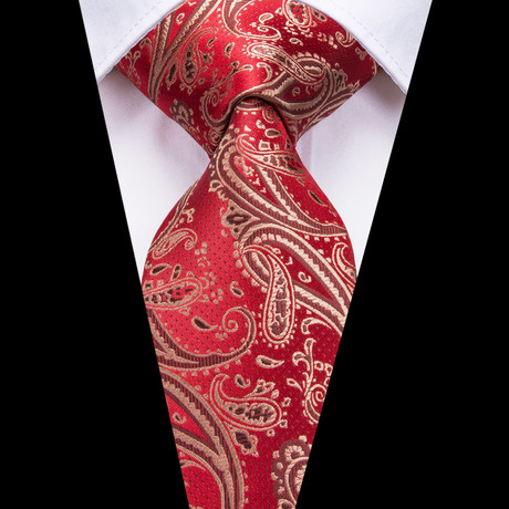 Thayer Handmade Tie // Red + Gold