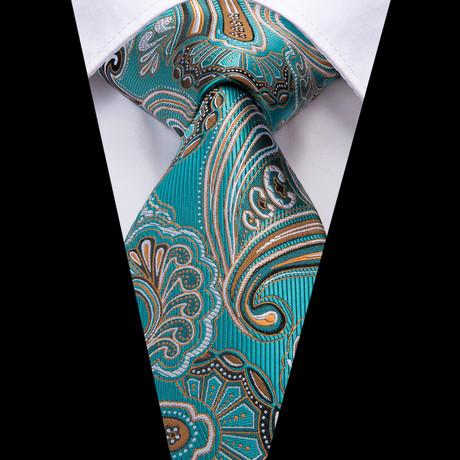 Marion Handmade Tie // Teal + Gold