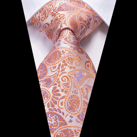 Guy Handmade Tie // Orange Paisley