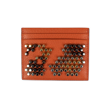 Kios Leather Stud Card Case Wallet // Rust Orange
