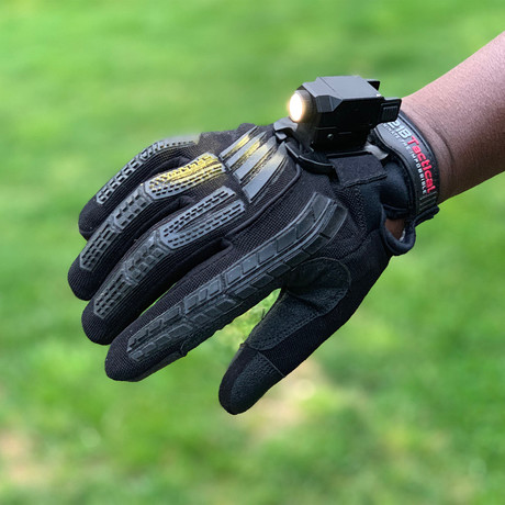 Guardian Gloves // Gloves with Light Mount + P3X Light // Black (XS)
