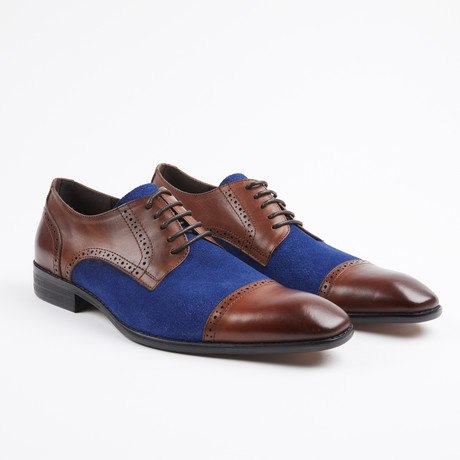 Leather/Suede Two Tone Oxfords // Brown/Blue (US: 7)