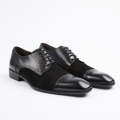 Leather/Suede Two Tone Oxfords // Black/Black (US: 7)