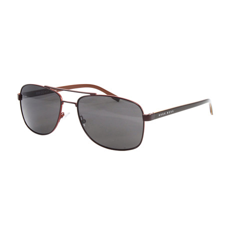 Hugo Boss // Men's Polarized 0762S Sunglasses // Matte Brown