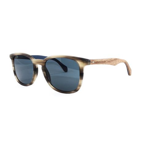 Hugo Boss // Men's 843S Sunglasses // Horn Brown + Blue