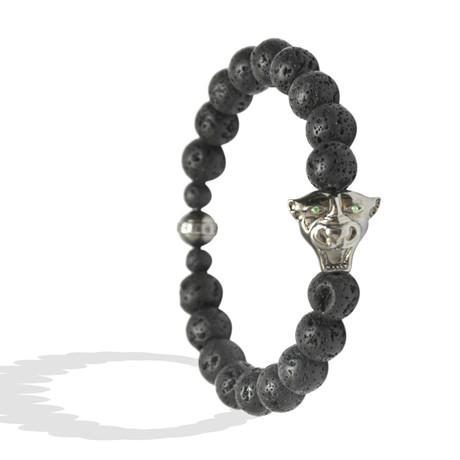 "Jaguar Head Bracelet // Black Rhodium Plating (6"")"