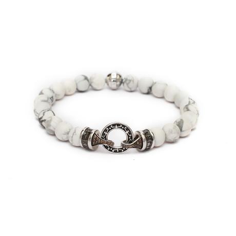"""Ornate Chain Loop Bracelet // White (6"""")"""