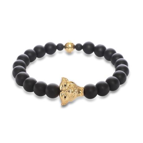 "Jaguar Head Bracelet // 18K Yellow Gold Plating (6"")"