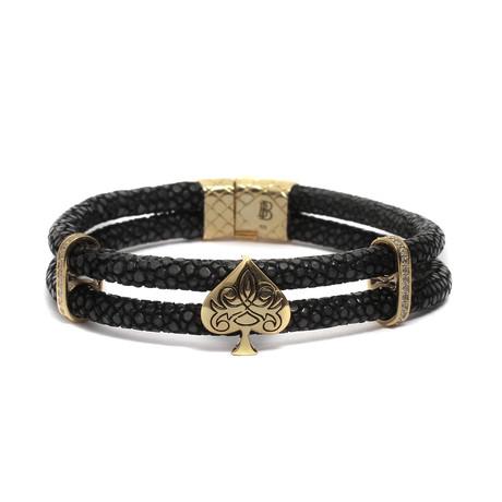 "Golden Filigree Spade Bracelet // Double Layered Leather // Black (6"")"