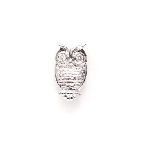 Owl Lapel Pin // White Gold Plating