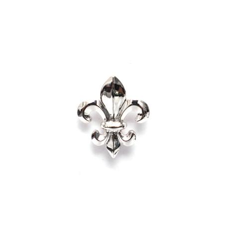 Fleur De Lis Lapel Pin // White Gold Plating