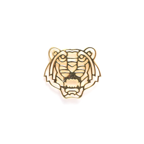 Geo Facet Tiger Head Lapel Pin // Yellow Gold Plating