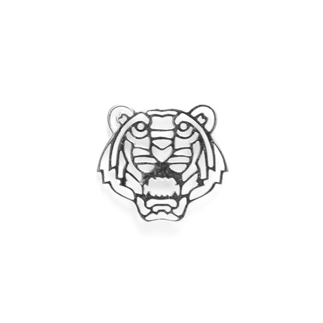 Geo Facet Tiger Head Lapel Pin // White Gold Plating