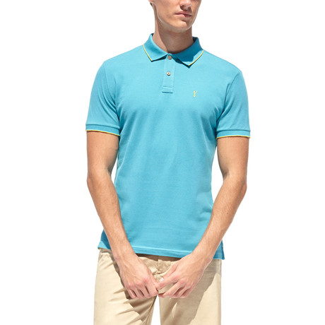 Smart-Fit Basic Polo Shirt + Print Detail // Turquoise (S)
