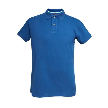 Basic Melange Polo Shirt // Navy Blue (S)