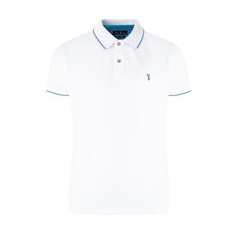 Smart-Fit Basic Polo Shirt + Print Detail // White (S)