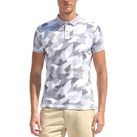 Smart-Fit Polo Shirt + Geometrical Camouflage Print // Gray (S)