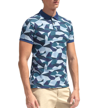 Smart-Fit Polo Shirt + Geometrical Camouflage Print // Navy Blue (S)
